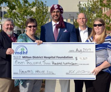 Milton Haunted House presents cheque to Milton District Hospital Foundation